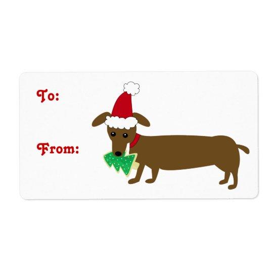 Dachshund del navidad etiquetas de envío