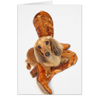 Dachshund en botas de vaquero tarjeta de felicitación