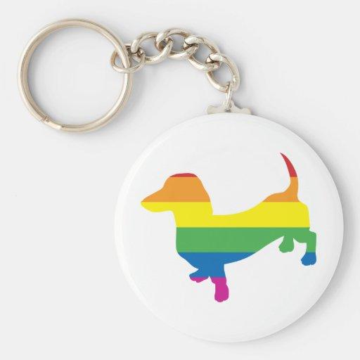 Dachshund/salchicha de Frankfurt del orgullo gay Llaveros