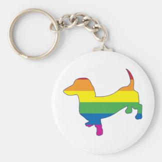 Dachshund/salchicha de Frankfurt del orgullo gay Llavero Redondo Tipo Chapa