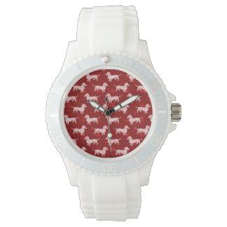 Dachshunds del copo de nieve del navidad rojos reloj de mano