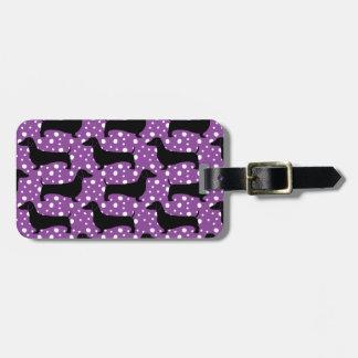 Dachshunds púrpuras de la polca etiqueta de equipaje