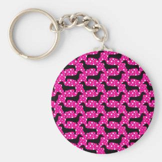 Dachshunds rosados de la polca llaveros personalizados