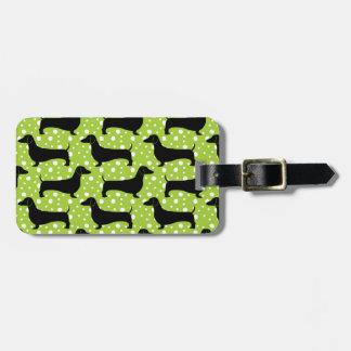 Dachshunds verdes de la polca etiqueta para equipaje