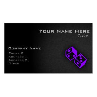 Dados púrpuras violetas del casino tarjetas de visita