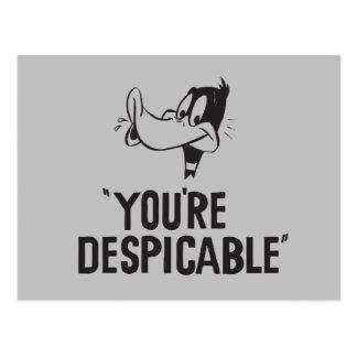 """DAFFY clásico DUCK™ """"usted es despreciable """" Postal"""