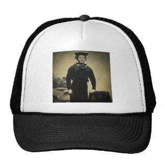 Daguerreotype del marinero de la guerra civil del  gorras