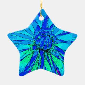 Dalia azul adorno de cerámica en forma de estrella