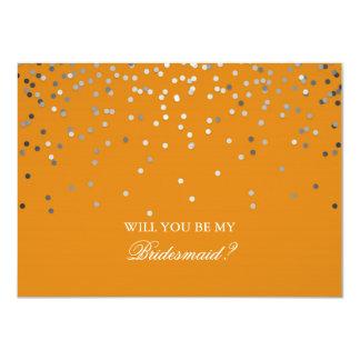 Dama de honor anaranjada del boda del confeti de invitación 11,4 x 15,8 cm