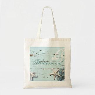 Dama de honor azul de madera elegante de la playa bolsa tela barata