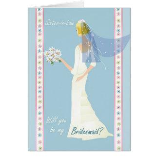 Dama de honor de la cuñada, vestido blanco en azul tarjeta de felicitación