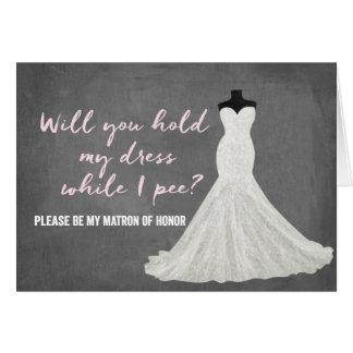 Dama de honor de la novia el | del humor tarjeta pequeña