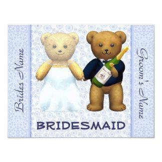 Dama de honor - el boda azul de los osos de invitación 10,8 x 13,9 cm
