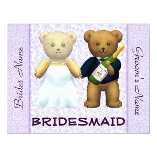 Dama de honor - el boda de la lila de los osos de invitación 10,8 x 13,9 cm