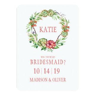 Dama de honor floral del Succulent el | del boda Invitación 11,4 X 15,8 Cm
