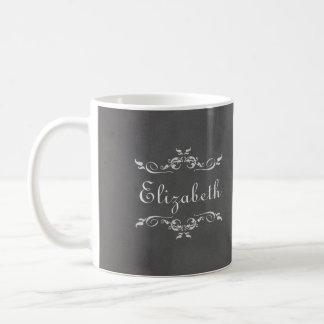 Dama de honor gris romántica de la pizarra del vin tazas