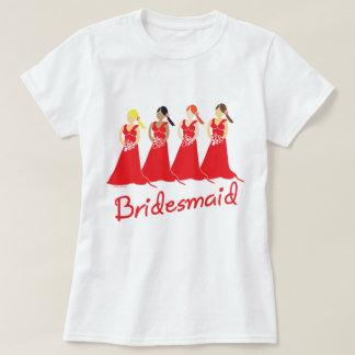 Damas de honor en asistente rojo del boda camiseta