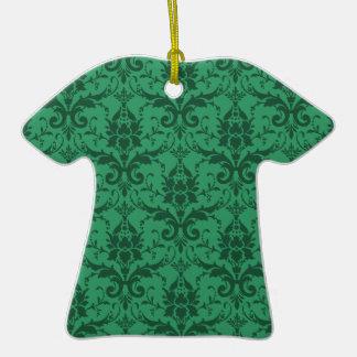 Damasco adaptable adorno navideño de cerámica en forma de camiseta