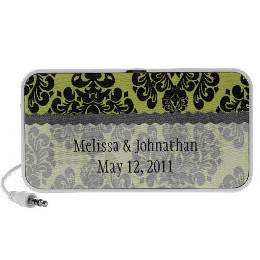damasco adornado elegante verde oliva y negro mp3 altavoz