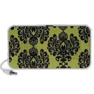damasco adornado elegante verde oliva y negro iPod altavoz