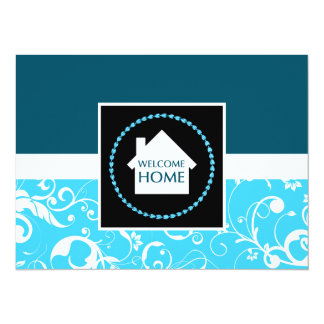 damasco azul casero agradable invitación 13,9 x 19,0 cm