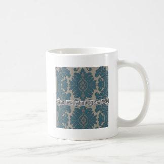 Damasco azul con un modelo dominante griego negro taza