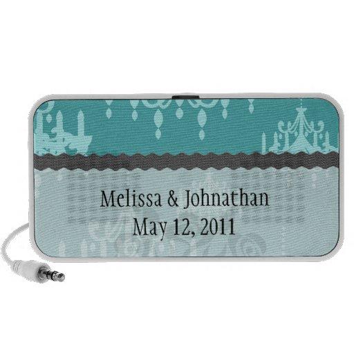 damasco azul de la lámpara en la aguamarina azul iPod altavoz