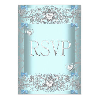 Damasco azul del trullo de RSVP que casa los Invitación 8,9 X 12,7 Cm