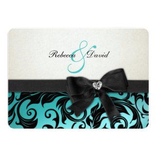 Damasco azul del trullo elegante con el arco del anuncio personalizado