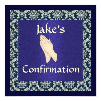 DAMASCO azul y beige de la confirmación Comunicado Personalizado