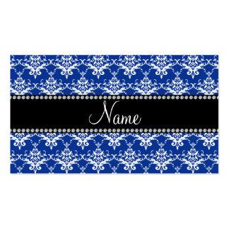 Damasco azul y blanco conocido personalizado plantilla de tarjeta de visita