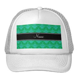 Damasco azulverde conocido personalizado gorros