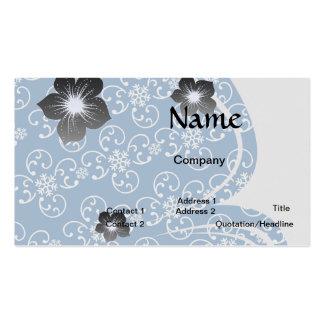 damasco blanco del copo de nieve en azul del invie plantilla de tarjeta personal