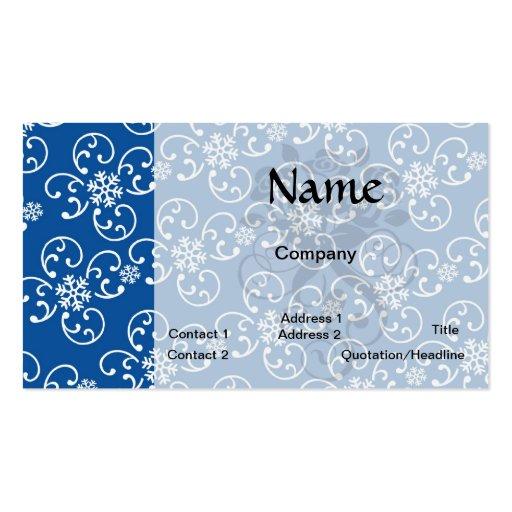 damasco blanco del copo de nieve en azul del invie plantillas de tarjetas de visita