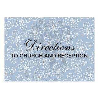 damasco blanco del copo de nieve en azul del invie tarjeta de visita