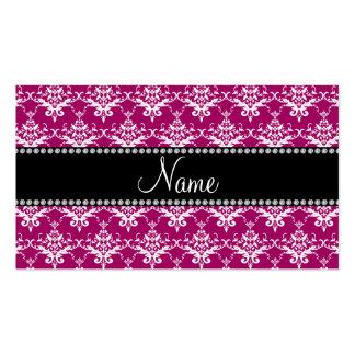 Damasco blanco rosado magenta conocido plantillas de tarjeta de negocio