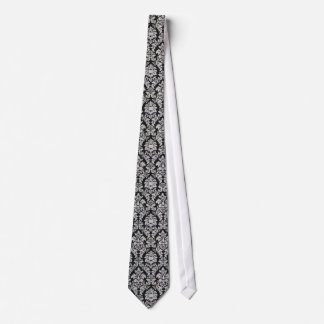 Damasco blanco y negro corbata