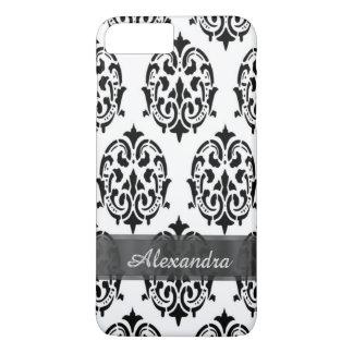 Damasco blanco y negro elegante elegante funda iPhone 7 plus