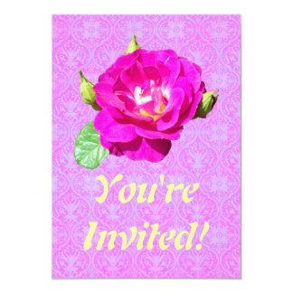 Damasco color de rosa violeta invitación 12,7 x 17,8 cm