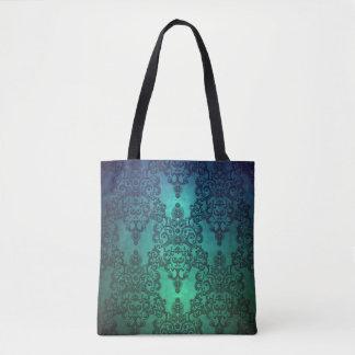 Damasco complejo azulverde del trullo profundo de bolso de tela