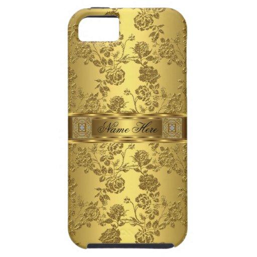 damasco con clase elegante del oro del iPhone 5 fl iPhone 5 Case-Mate Cobertura