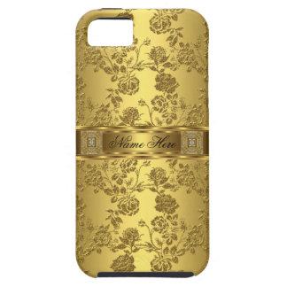 damasco con clase elegante del oro del iPhone 5 Funda Para iPhone SE/5/5s