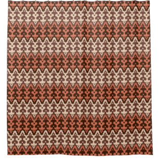 Damasco de Ikat del marroquí, Brown, de color topo Cortina De Baño