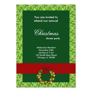 Damasco de la cena de navidad invitación 12,7 x 17,8 cm
