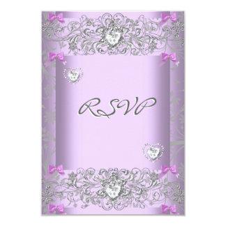 Damasco de la lila de RSVP que casa los corazones Invitación 8,9 X 12,7 Cm