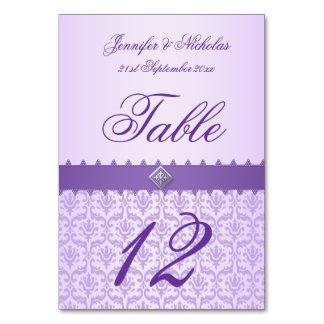 Damasco de la lila del número de la tabla y cinta
