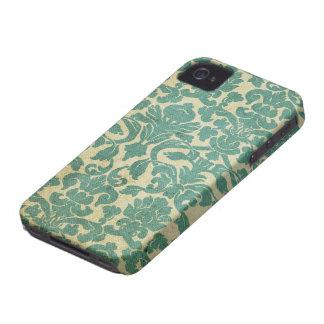 Damasco de la verde salvia del vintage iPhone 4 Case-Mate cárcasas