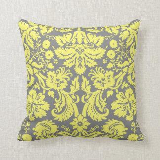 Damasco de lujo amarillo y gris uno echado a un cojín