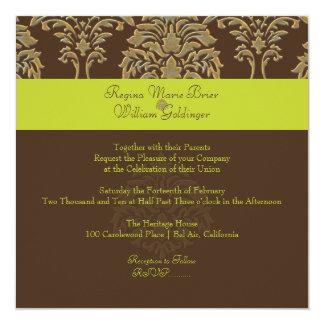 Damasco de PixDezines Florentius/verde/chocolate Invitación 13,3 Cm X 13,3cm