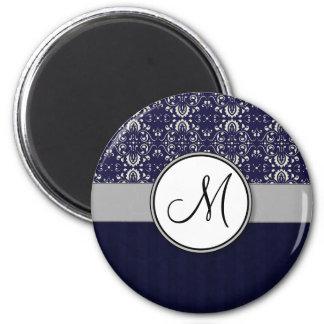 Damasco de plata en azul con las rayas y el monogr imán redondo 5 cm